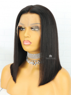 Classic Black Yaki Straight Bob Brazilian Virgin Hair Lace Wig [CBW15]