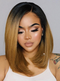 Kim K Inspired Ombre Color Long Bob Lace Wig [CBW17]