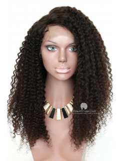 "Black Curly Virgin Brazilian Hair Lace Front Wigs w 5"" Lace [LFW507]"