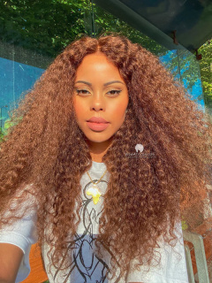 Beach Curls Virgin Brazilian Hair  Glueless Lace Wigs[GFL34]