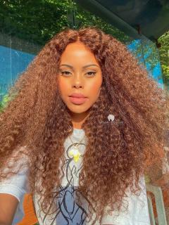Beach Curls Virgin Brazilian Hair  Glueless Lace Wigs[GFL34]