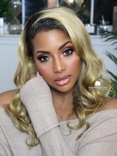 HD Film Lace Front Wig Blonde Wavy Brazilian Hair [Michelle042]