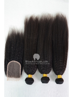 Virgin Brazilian Hair Italian Yaki Hair Weave 3pcs Bundles with A Lace Closure[WB232]