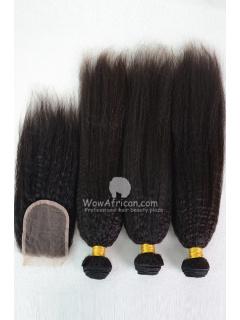 Virgin Brazilian Hair Italian Yaki Hair Weave 3pcs Bundles with A Lace Closure[WB232]