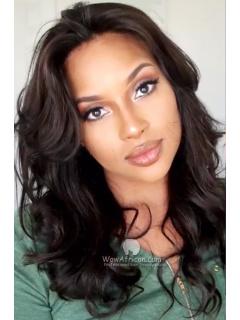 Full Side Bang Wavy Brazilian Virgin Hair Glueless Lace Wigs [GFL25]