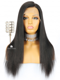 Natural Color Yaki Straight Brazilian Virgin Hair Glueless Full Lace Wigs[GFL07]