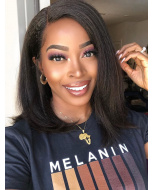 Blow Out Kinky Straight BOB Indian Hair Lace Front Wig [CBW41]