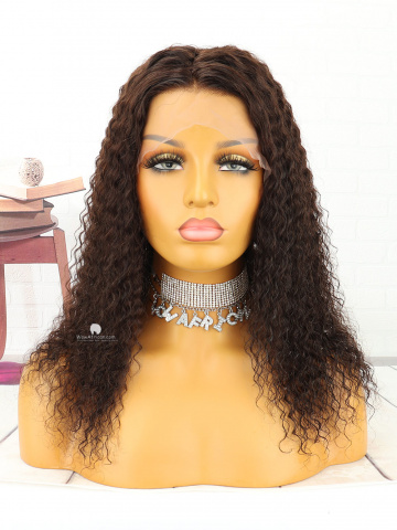 14in #2 Dark Brown Kinky Curl Indian Full Lace Wig[MS145]
