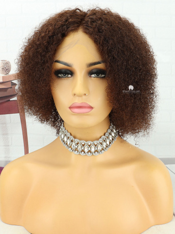 8in #3 MediumBrown Short Curly Brazilian Full Lace Wig[MS191]