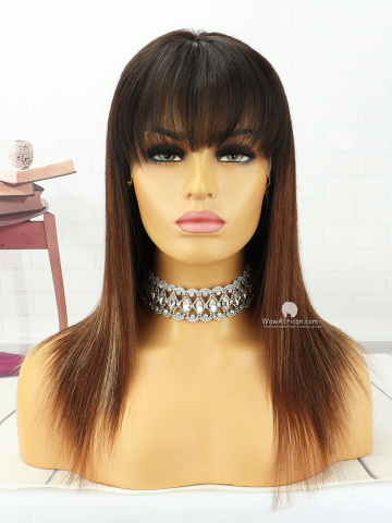 12in Ombre Brown Straight With Bangs Lace Front Lace Wigs Brazilian Hair [MS173]