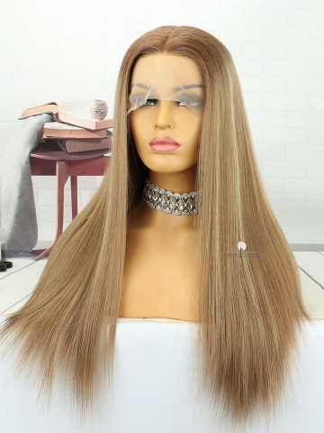 20in Ombre Blonde #6/#11/#24 Silky Straight Brazilian Virgin Hair Full Lace Wig[MS172]