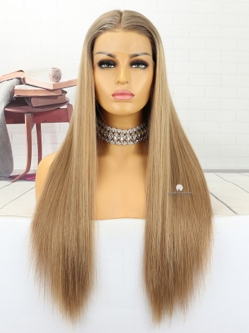 22in #8#11#24 Silky Straight Front Lace Wigs Brazilian Hair [MS155]