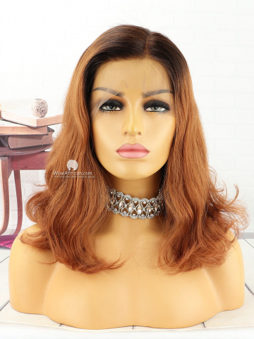 14in Brown Ombre Wavy Front Lace Wigs Brazilian Hair [MS157]