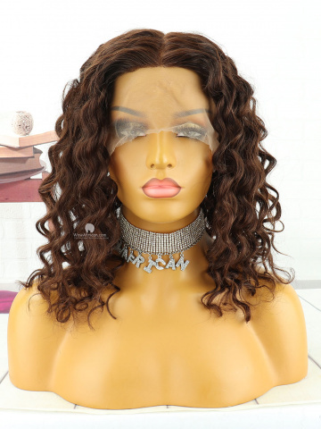 14in #2 Dark Brown Deep Wave Brazilian Virgin Hair Full Lace Wig [MS207]