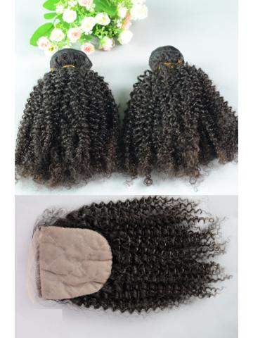 Peruvian Virgin Hair Peruvian Curl A Silk Top Closure with 2pcs Weft Bundles
