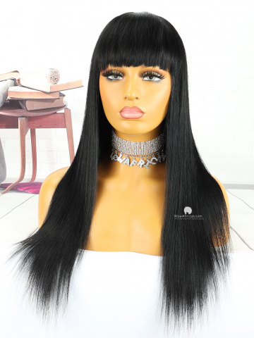 18in #1 Jet Black Silky Straight With Bangs Indian Hair Full Lace Wig[MS93]