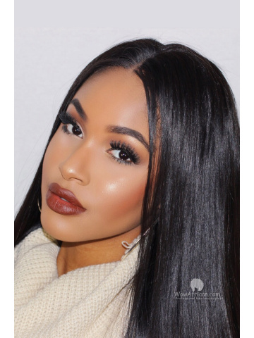 Natural Color Silky Straight Brazilian Virgin Hair Full Lace Wigs[FLW12]