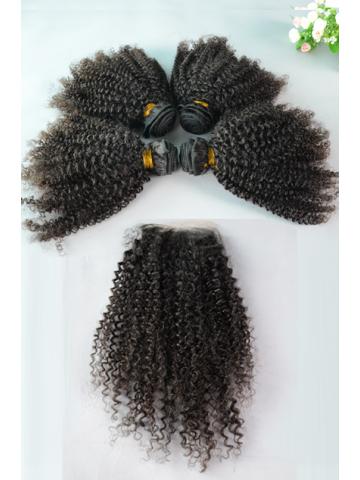 Peruvian Virgin Hair Peruvian Curl A Silk Base Closure with 4pcs Weft Bundles