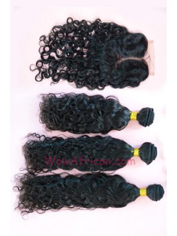 Peruvian Virgin Hair Brazilian Curl A Silk Base Closure with 3pcs Weft Bundles