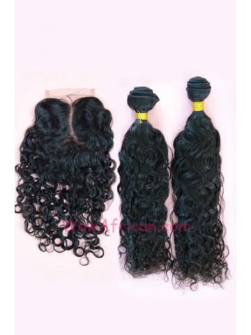 Brazilian Virgin Hair Brazilian Curl A Silk Base Closure with 2pcs Weft Bundles