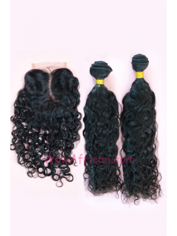 Peruvian Virgin Hair Brazilian Curl A Silk Base Closure with 2pcs Weft Bundles