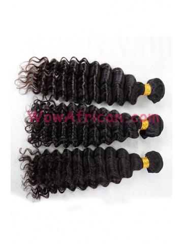 Deep Wave Natural Color Virgin Brazilian Hair Weave 3pcs Bundle