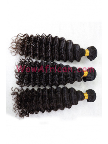 Virgin Peruvian Deep Wave Natural Color Hair Weave 3pcs Bundle