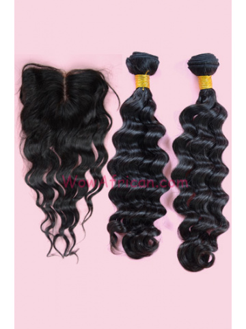 Brazilian Wave Peruvian Virgin Hair 4X4inches Middle Part Silk Base Closure with 2pcs Weaves[WB48]