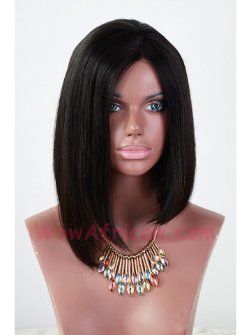 Beyonce Inspired Bob Style Brazilian Hair Jet Black Lace Wig