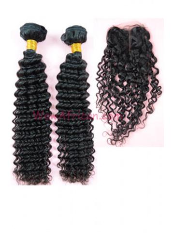 Peruvian Virgin Hair Water Wave A Silk Top Closure with 2pcs Weft Bundles