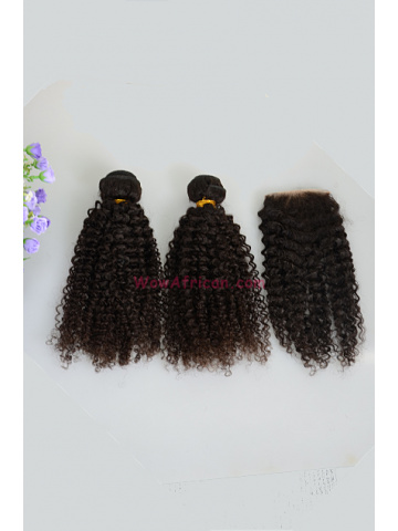 Kinky Curl Brazilian Virgin Hair 3.5X4inches Middle Part Closure with 2pcs Weaves[WB262]