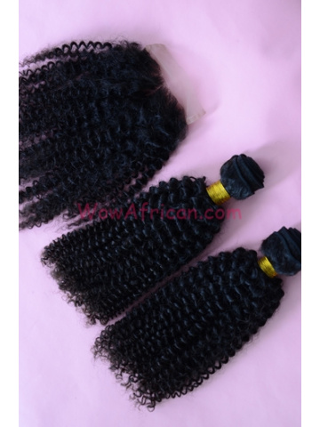 Peruvian Curl Brazilian Virgin Hair 3.5X4inches Middle Part Closure with 2pcs Weaves[WB24]