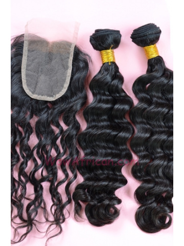 Indian Virgin Hair Brazilian Wave A Lace Closure with 2pcs Weaves Bundles