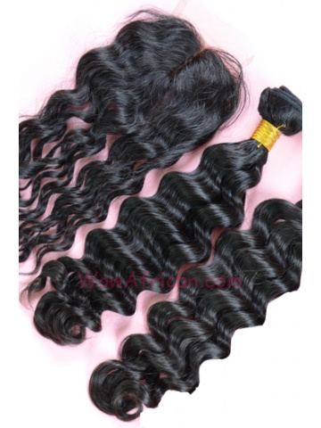 Brazilian Wave Brazilian Virgin Hair 3.5X4inches Middle Part Closure with 2pcs Weaves