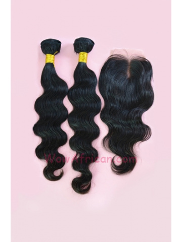 Indian Virgin Hair Body Wave A Lace Closure with 2pcs Weaves Bundles