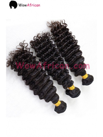 Deep Wave Brazilian Virgin Hair 3.5X4inches Middle Part Closure with 3pcs Weaves[WB243]