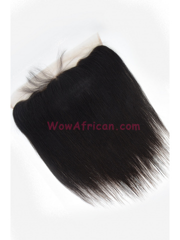 Natural Color Yaki Straight Brazilian Virgin Hair Lace Frontal [LF25]