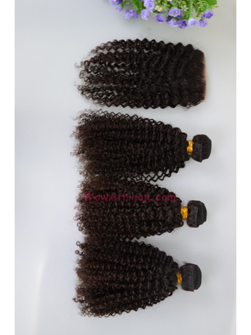 Kinky Curl Brazilian Virgin Hair 3.5X4inches Middle Part Closure with 3pcs Weaves[WB263]