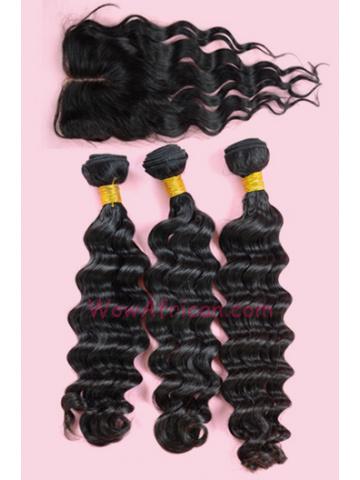 Peruvian Virgin Hair Brazilian Wave A Silk Top Closure with 3pcs Weft Bundles[WB157]
