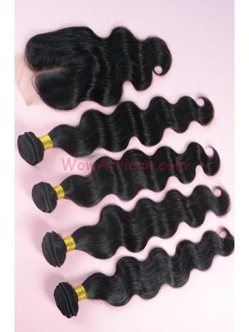 Peruvian Virgin Hair Body Wave A Silk Top Closure with 4pcs Weft Bundles