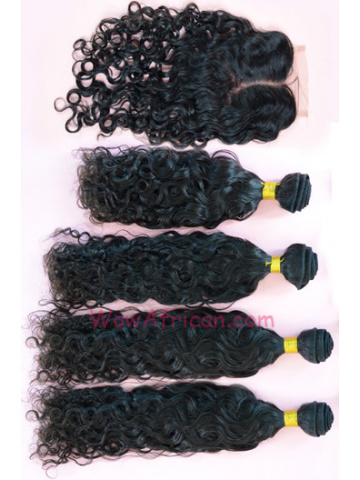 Brazilian Virgin Hair Brazilian Curl A Silk Base Closure with 4pcs Weft Bundles