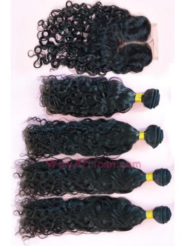 Peruvian Virgin Hair Brazilian Curl A Silk Base Closure with 4pcs Weft Bundles
