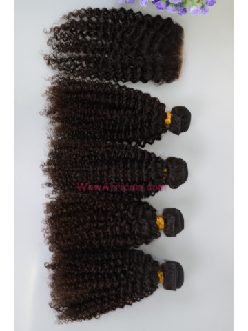 Brazilian Virgin Hair Kinky Curl A Lace Closure with 4pcs Weft Bundles[WB264]