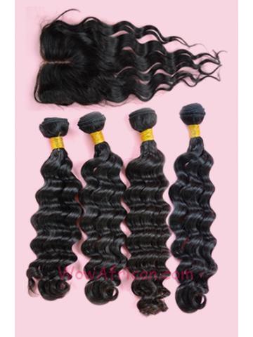 Peruvian Virgin Hair Brazilian Wave A Silk Top Closure with 4pcs Weft Bundles[WB164]