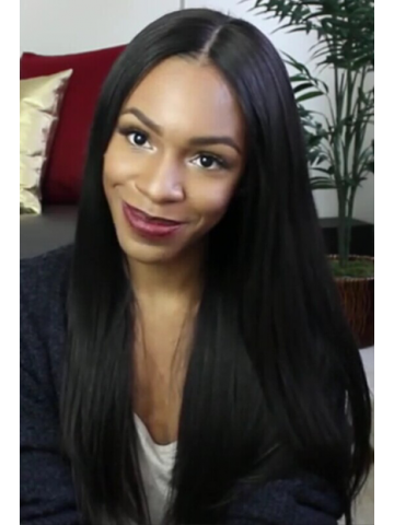Natural Color Silky Straight Virgin Brazilian Hair Lace Front Wigs[LFW06]