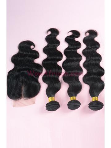 Peruvian Virgin Hair Body Wave A Silk Top Closure with 3pcs Weft Bundles
