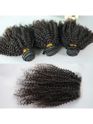 Peruvian Virgin Hair Peruvian Curl A Silk Base Closure with 3pcs Weft Bundles