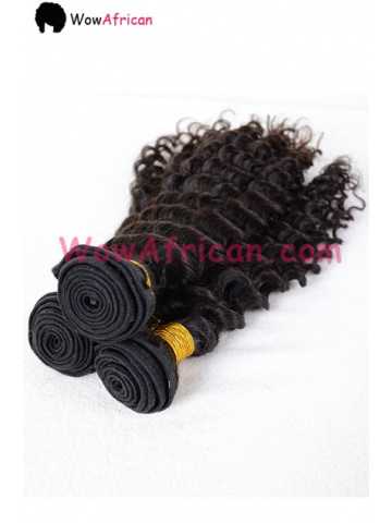 Indian Virgin Deep Wave Hair 3.5X4inches Middle Part Closure with 3pcs Weaves[WB258]