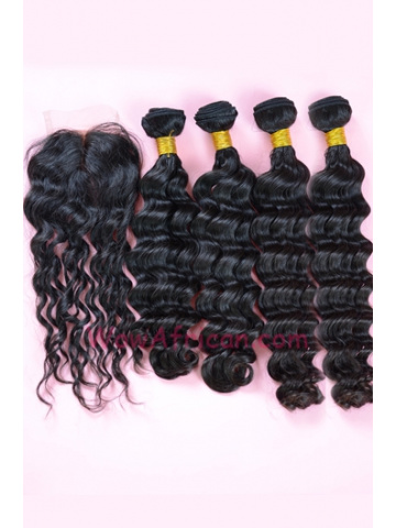 Indian Virgin Hair Brazilian Wave A Lace Closure with 4pcs Weaves Bundles