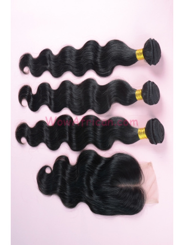 Body Wave Brazilian Virgin Hair 3.5X4inches Middle Part Closure with 3pcs Weaves